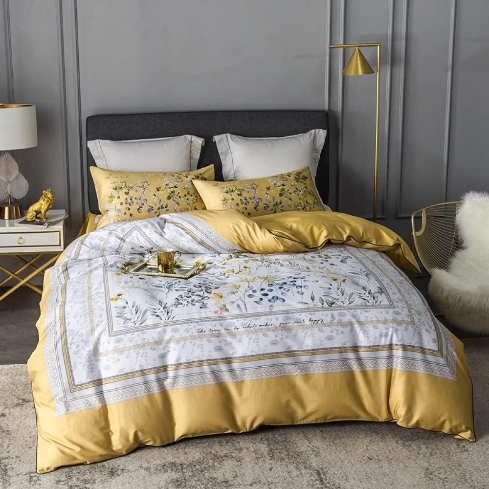 Funda nórdica con estampado de flores florales Funda de almohada Edredón de lujo European Palace Colcha suave y cómoda Juego de cama Queen King Juego de cama de gran tamaño, King, 3 piezas (220x230cm)