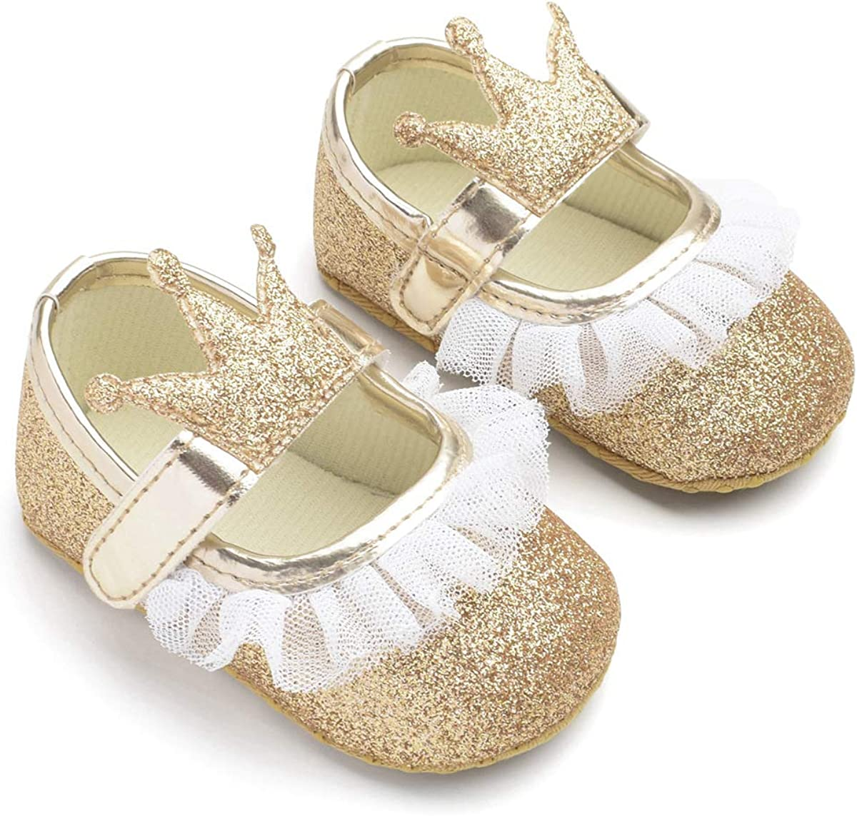 LHZZE Baby Girls Mary Jane Flats with Bowknot Non-Slip Infant First Walkers Princess Dress Shoes