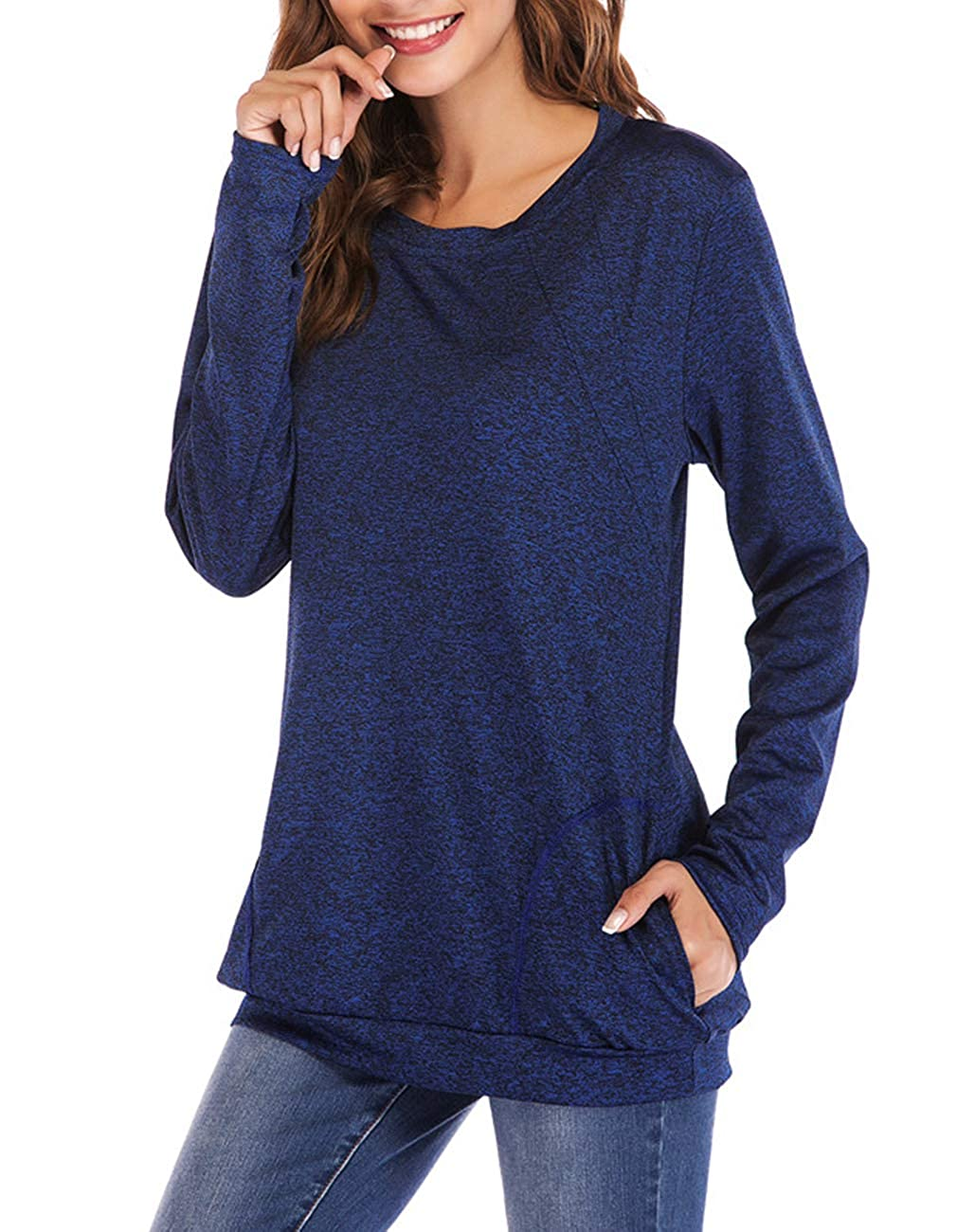 Defal Womens Long Sleeve Round Neck Quick-Dry Top T-Shirts Loose Gym Sports with Thumb Holes Pockets Comfortable Tunic Blouse