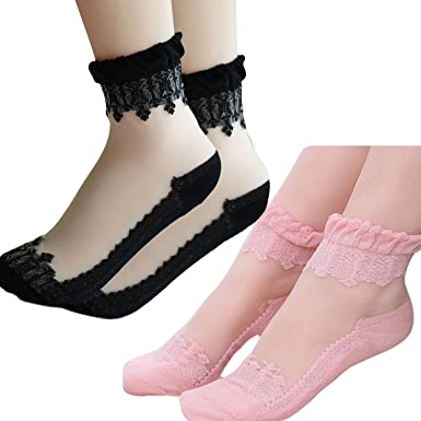 Gorgeous Lace Ruffle Ankle Socks Ultrathin Sheer Silk Cotton Elastic Socks