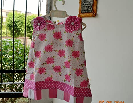 3b9766dfc Helloyellow Kids Clothing Cotton Baby Girl Blooming Flowers Handmade Frock  (Gc103-Extra Small -