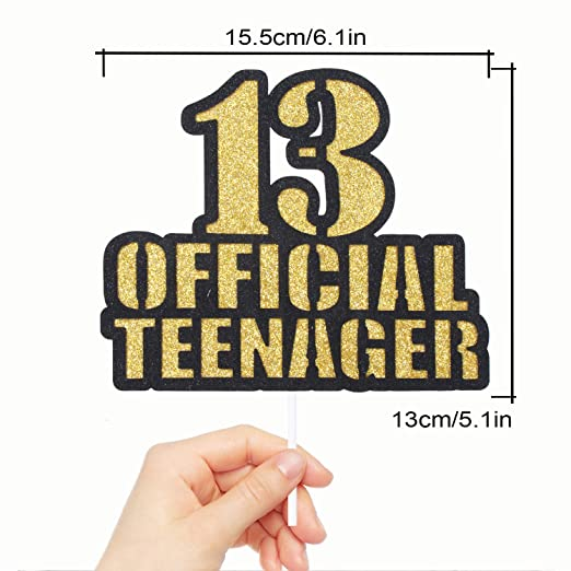 Official Teenager 13 Birthday Cake Topper - Boys Girls 13th Birthday Ceremony Gold Glitter Cake Décor - Thirteen Years Old Birthday Party Decoration
