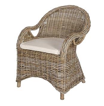 Fauteuil rotin naturel Accoudoir Chaise en rotin, Rotin chaise Roma Gris  délavé Chaise de jardin 671c88428b28
