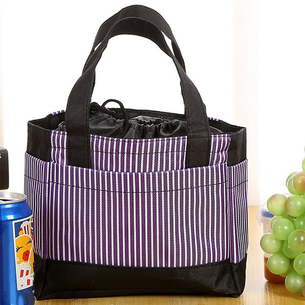 Squarex alla moda a righe Size: 21X10X17.5cm Borsa termica per il pranzo Blue impermeabile in tela termica per picnic