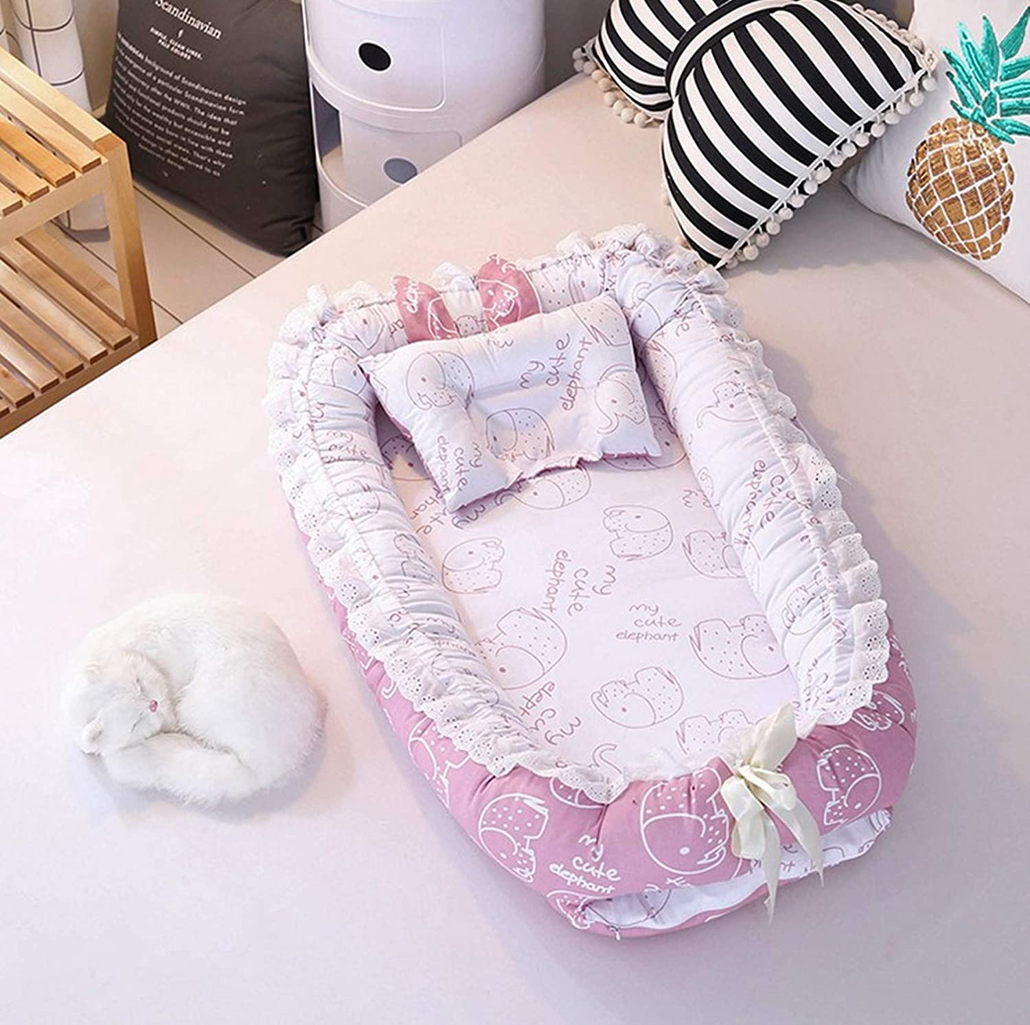 USTIDE Baby Bassinet Pink Ice-cream Breathable Bedding 100/% Cotton Portable Super Soft Bedding Set 2 pieces