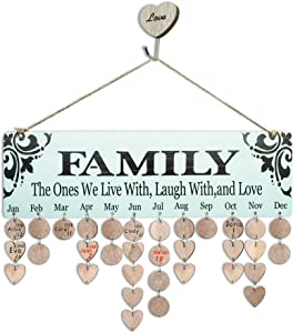 YuQi Personalized Gifts Presents for Grandma Moms - Wood Family Birthday Reminder Calendar Board Wall Hanging with 100pcs Wooden Tags- Wonderful Way to Keep Track of Family Birthdays