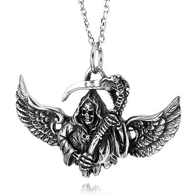 fec87ee738e3 Collar Grande de Acero Inoxidable Pesado Colgante de Collar de Tono de  Plata alas de ángel ...