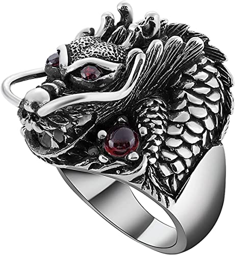 Epinki 925 Sterling Silver Punk Rock Vintage Gothic Dragon Claw Adjustable Ring for Men Fashion Men Accessories