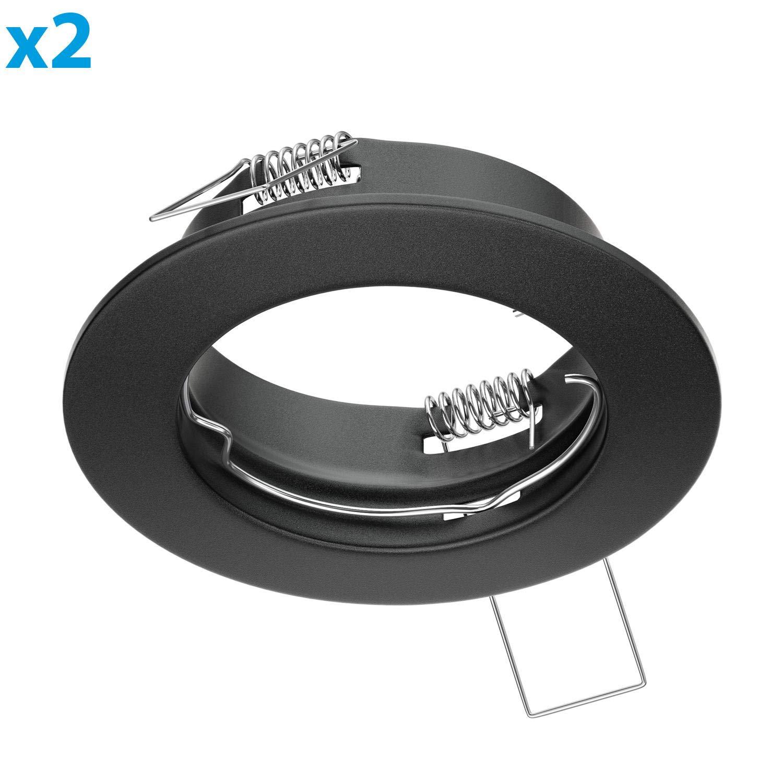 ledscom.de Recessed Light Mounting Frame FERE Recessed Light Mounting Frame Black Mat 2 Pcs LED//Halogen//GU10//MR16//PAR16//50mm