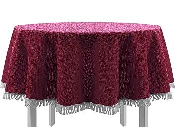 Exclusive Nappe de table de jardin, ronde, ovale, carrée classique avec  franges, bordeaux, 140x180 cm oval