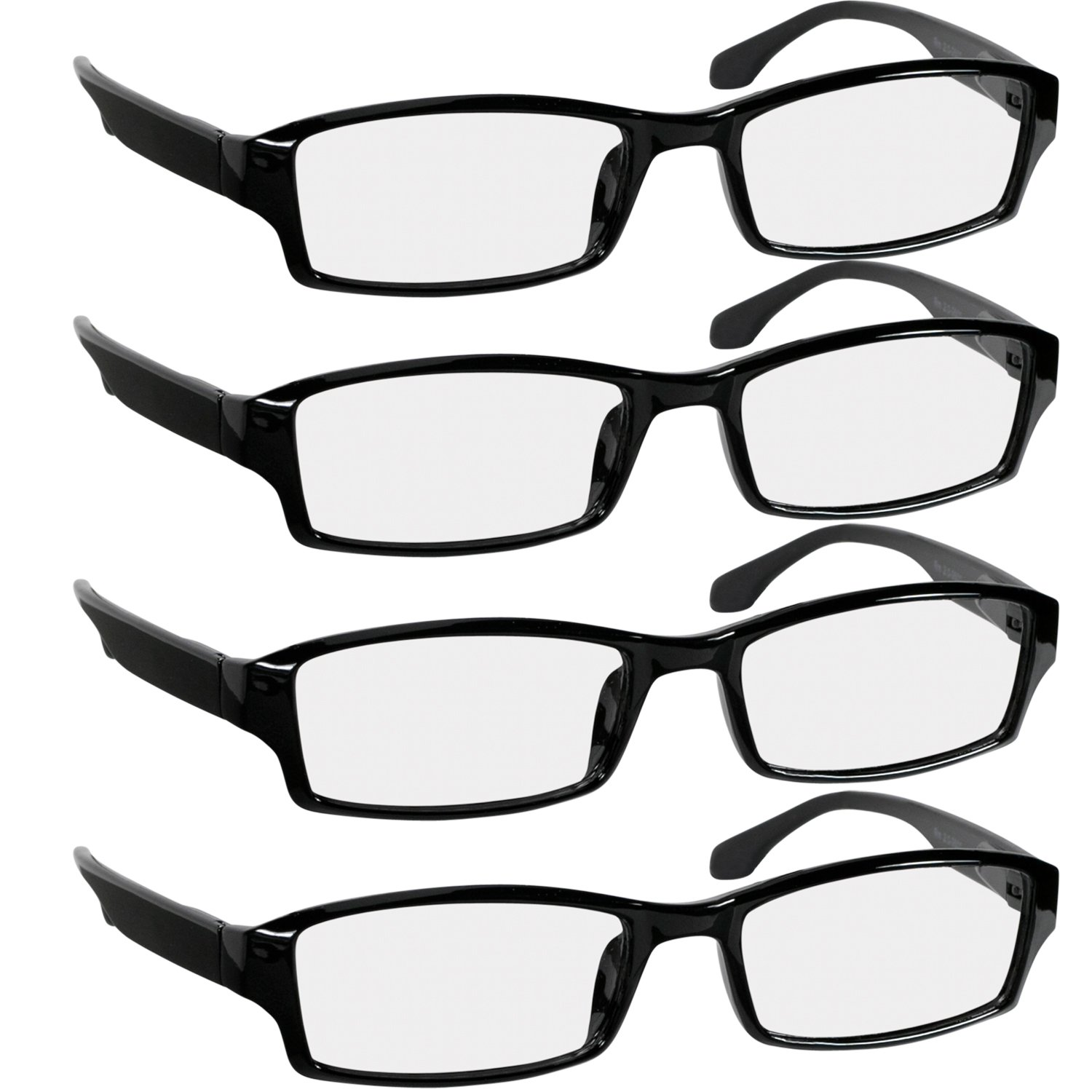 Reading Glasees 2.0 | 4 Pack Black | Readers for Men & Women Spring Arms & Dura-Tight Screws | Always Have a Stylish Look and Crystal Clear Vision When You Need It by TruVision Readers
