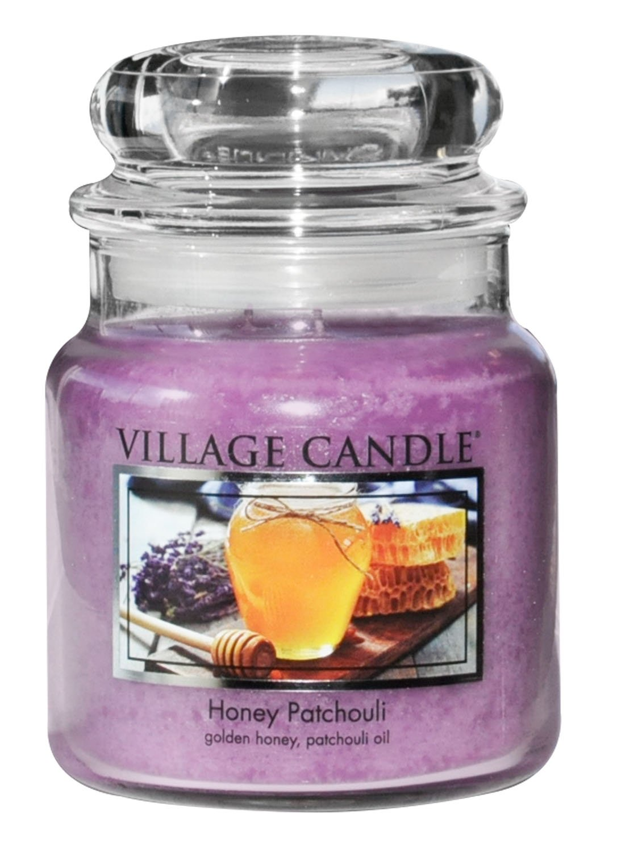 Village Candle 106311843 Honey Patchouli Petit Pot de Verre Violet 9.6 x 9.3 x 7.8 cm 106011843