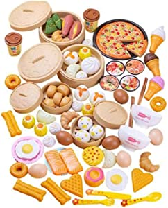 84PCS Chinese Breakfast Food Playset, Children Pretend Play Food Toy Kitchen Set, Kids Toddlers Fake Food Toys