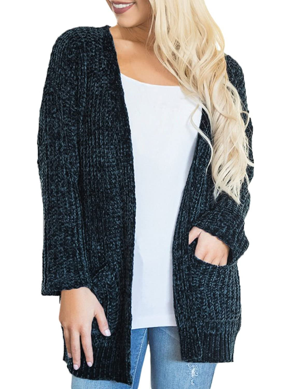 Dearlove Women's Super Cozy Open Front Knitted Cardigans Sweater Coat Pockets DL27884