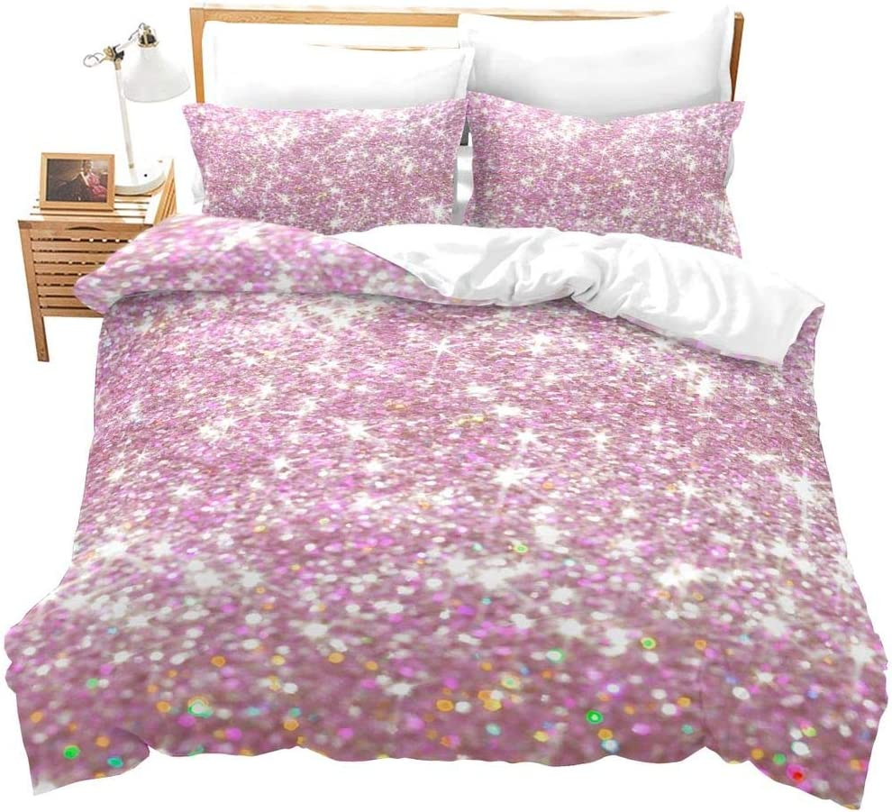 Erosebridal Pink Glitter Bedding Set Twin for Kids Girls Women Sparkle Duvet Cover with Sequin Modern Bling Bedroom Decor Bed Comforter Set 2 Pieces Girly Pink Cute Bedspreads with Zipper,Ties