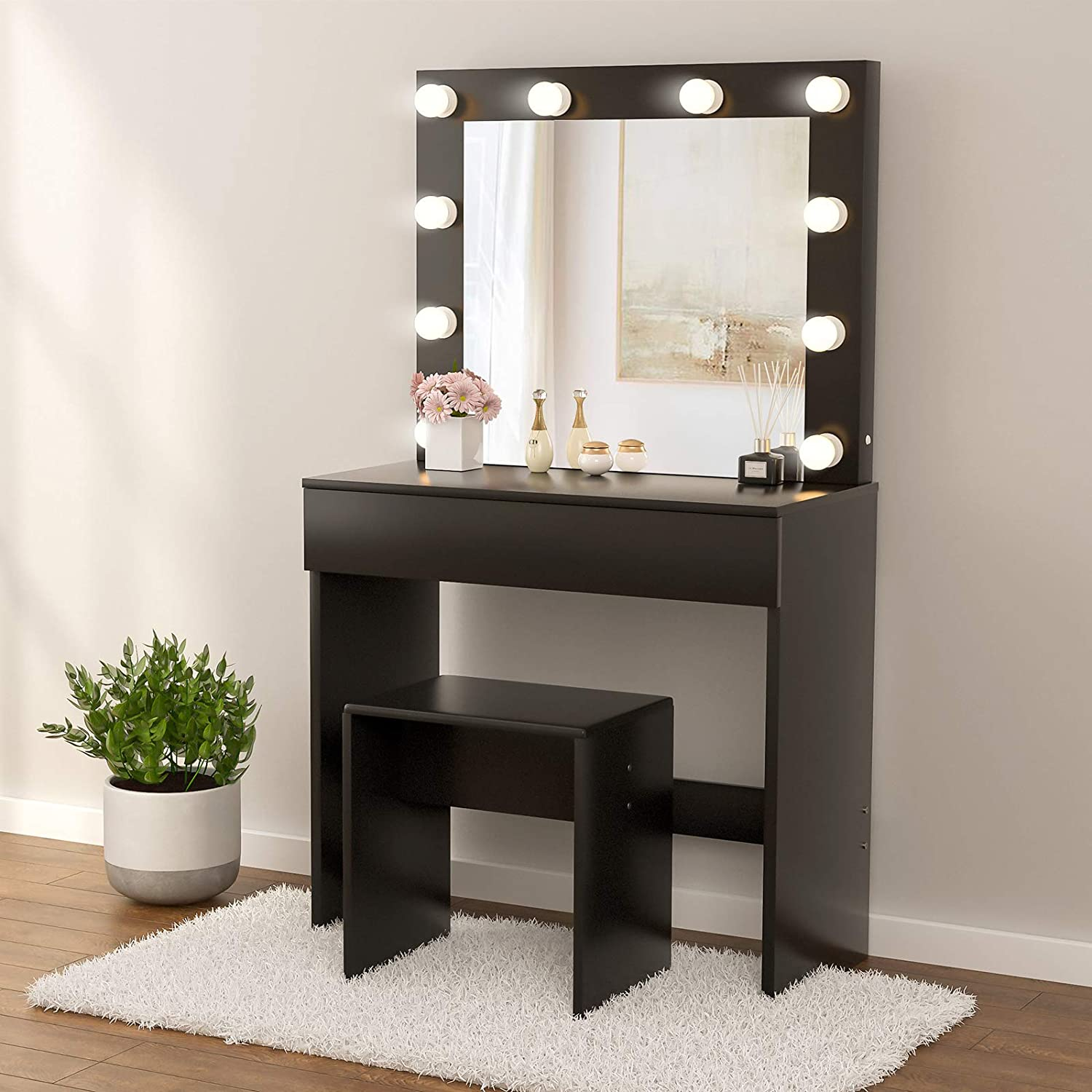 Mecor Makeup Vanity Table Set w/10 LED Lights Mirror, Vanity Table with Stool & Drawer, Wood Dressing Table Bedroom Furniture, for Girls Women Gifts - Black