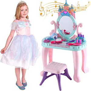 DYJKOUG Toddler Vanity Table & Chair Set, Plastic Little Girls Vanity Table with Stool, Toddler Girls Vanity Set with Piano and Makeup Accessories, Girls Little Princess Pretend Play Vanity