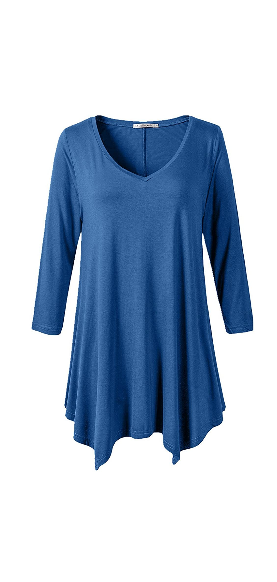 Womens Plus Size / Sleeve V Neck Flowy T Shirt Top