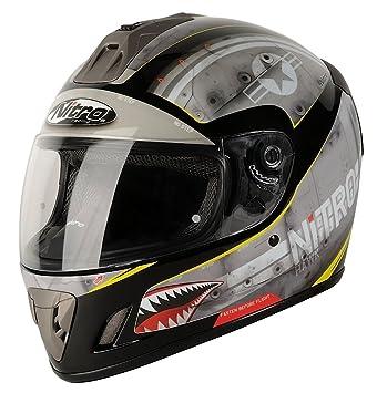 Nitro 108915S11 NGFP HAWK Casco Moto, Color Gris y Negro, Talla S