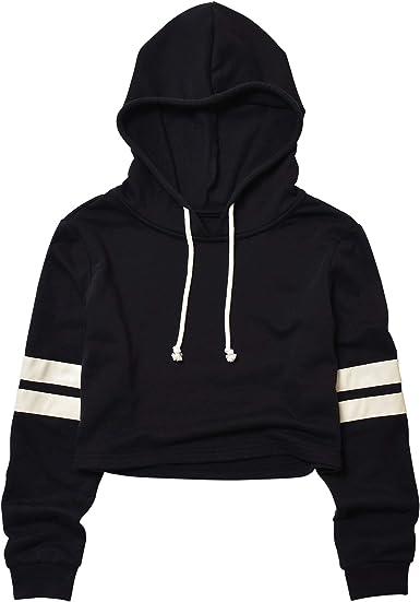 Women Ladies Sweatshirt Hooded Contrast Stripes Long Sleeve Baggy Pullover Dress