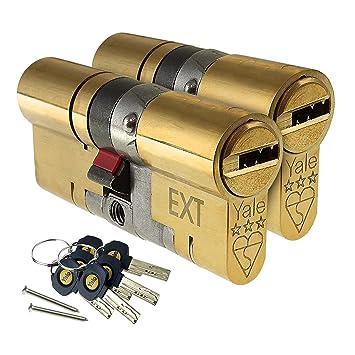 Cylindre de serrure de s/écurit/é /à bouton-poucier anti-per/çage laiton et nickel cylindre de remplacement profil europ/éen