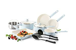 GreenLife Cambridge Induction Pro Ceramic Nonstick Oven Safe Dishwasher Safe Cookware Set, 12-Piece, Light Blue