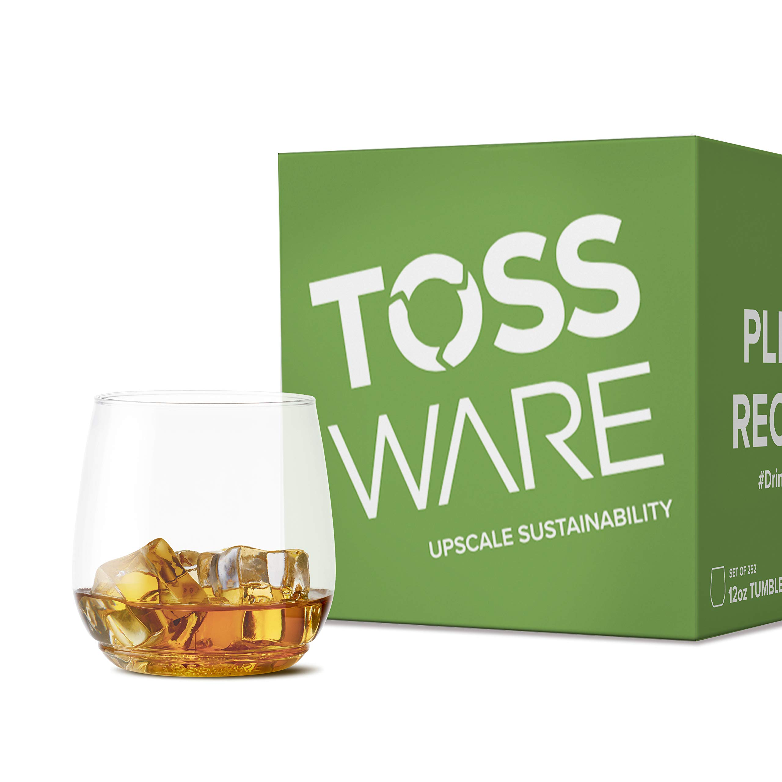 TOSSWARE 12oz Tumbler Jr - Set of 252 recyclable cocktail and whiskey plastic cup - stemless, shatterproof and BPA-free, Clear Glass