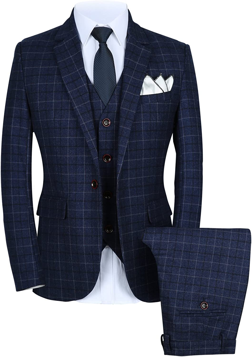 MOGU Mens 3 Piece Slim Fit Plaid Suit Blazer+Vest+Pants
