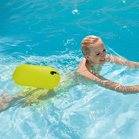 and Safe Swim Open Water Inflatable Swim Bubble Float for Swimmers Triathletes Snorkelers Jansite Swim Buoy 28L with Dry Bag and Waterproof Phone Case