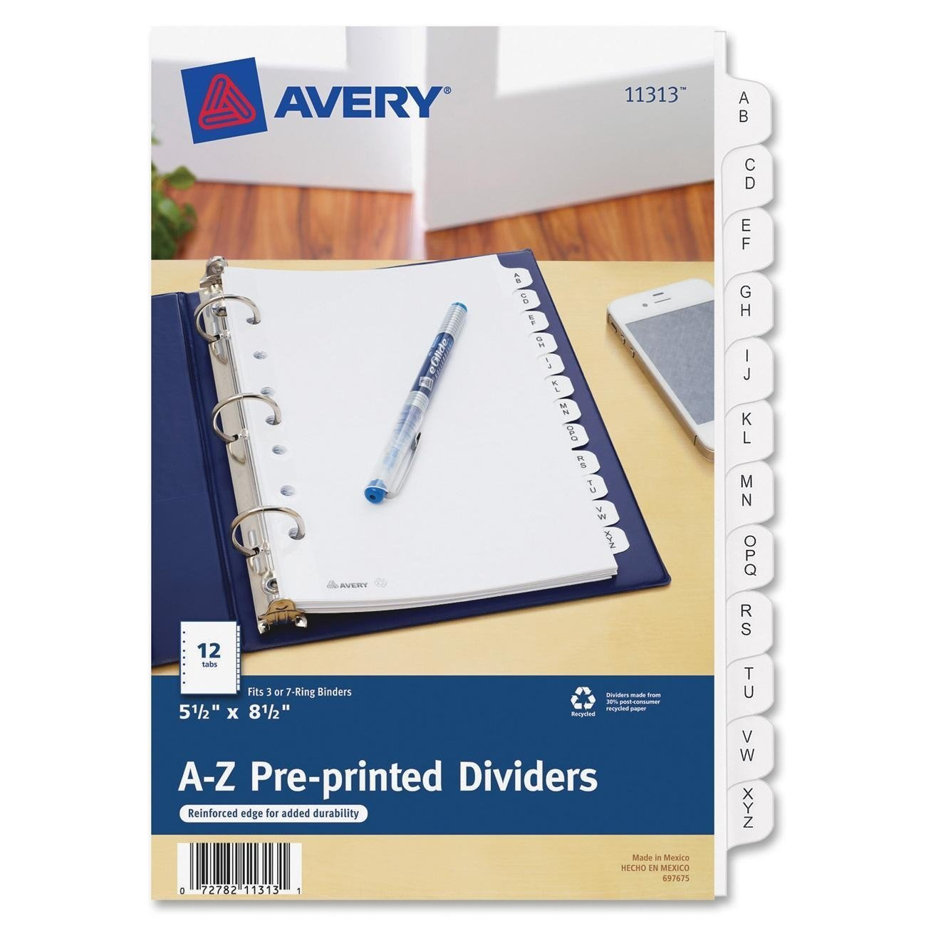 Avery Preprinted Tab Dividers, 12-Tab, 8 1/2 x 5 1/2