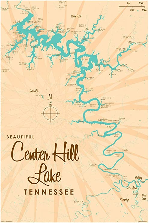 map of center hill lake Amazon Com Center Hill Lake Tennessee Map Giclee Art Print map of center hill lake