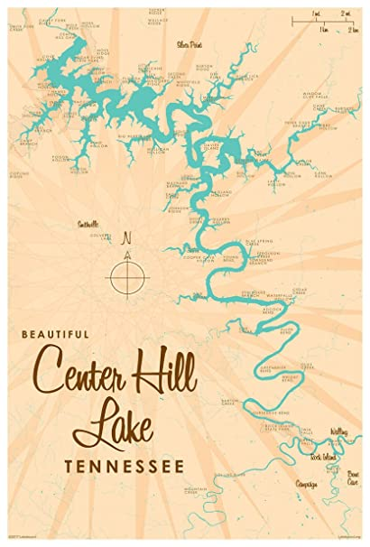 Amazon.com: Center Hill Lake, Tennessee Map Vintage-Style Art Print on