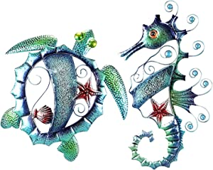 Metal Wall Art Sea Turtle and Seahorse Mosaic Artwork Set Indoor Outdoor Metal Wall Decor