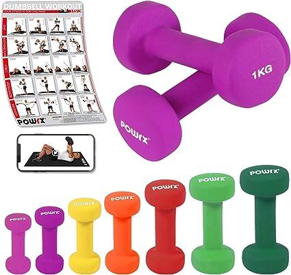 POWRX Mancuernas Neopreno 6 kg Set (2 x 3 kg) - Ideal para ...
