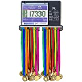 Medal Holder for Runners - Medal Display Rack with Holders for Race Bib & Award Ribbon - Running Medal Hanger with Chalk…