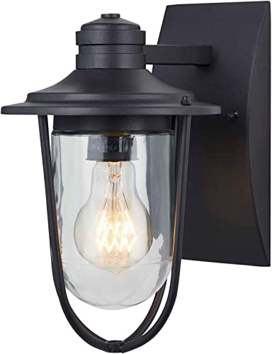 NOMA Outdoor Wall Lantern Waterproof Outdoor Down-Facing Exterior Light for Front Door, Backyard, Garage, Patio or D cor Black Finish with Clear Glass Shade