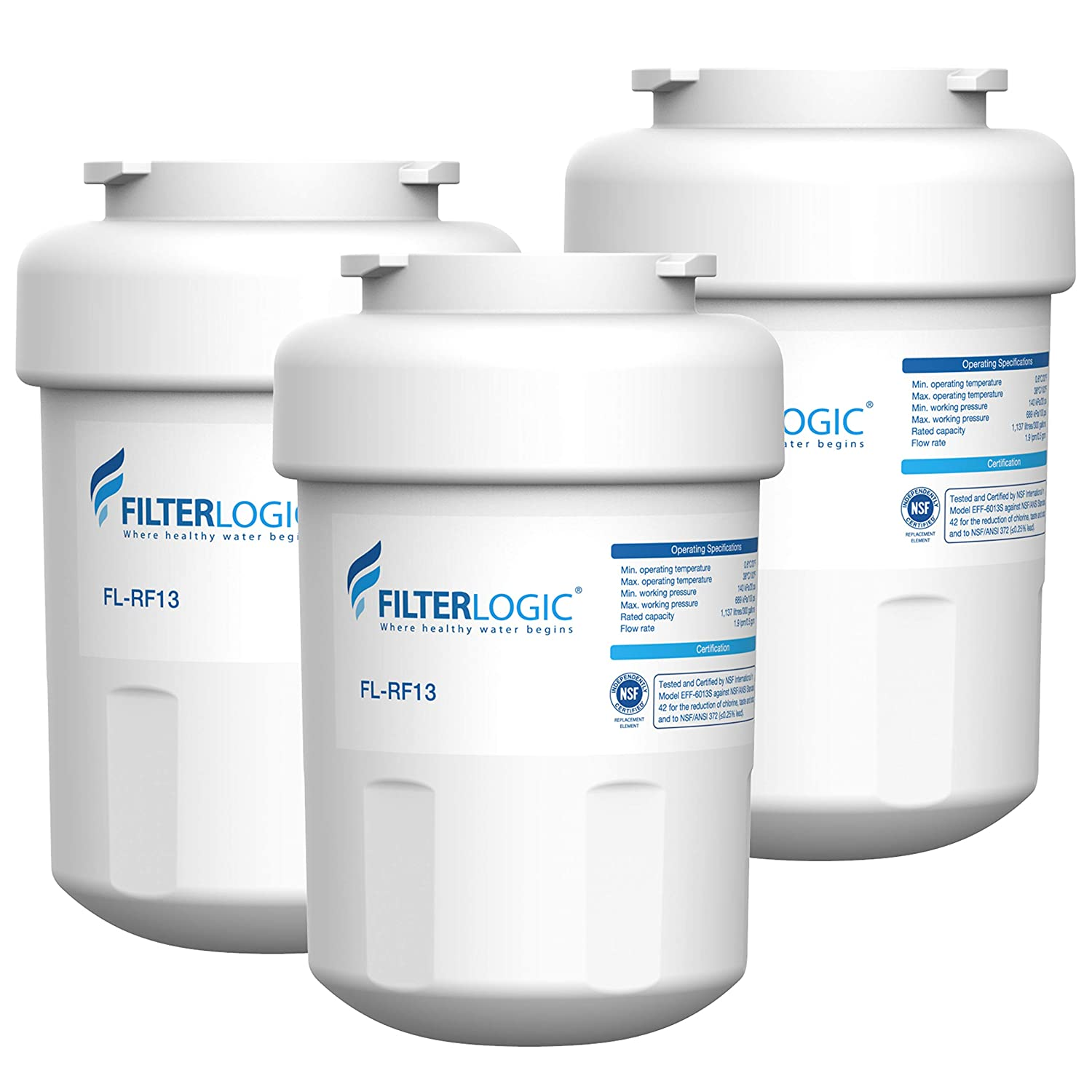 FilterLogic MWF Refrigerator Water Filter, Replacement for GE SmartWater MWFP, MWFA, GWF, HDX FMG-1, WFC1201, GSE25GSHECSS, PC75009, RWF1060, 197D6321P006, Kenmore 9991 (Pack of 3)