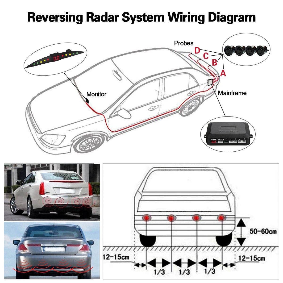 Tvird Car Reverse Backup Radar System 4 Parking Sensors Automotive Lighting Wiring Diagram Safety Sensor Kit With Led Display Reversing Universal Auto