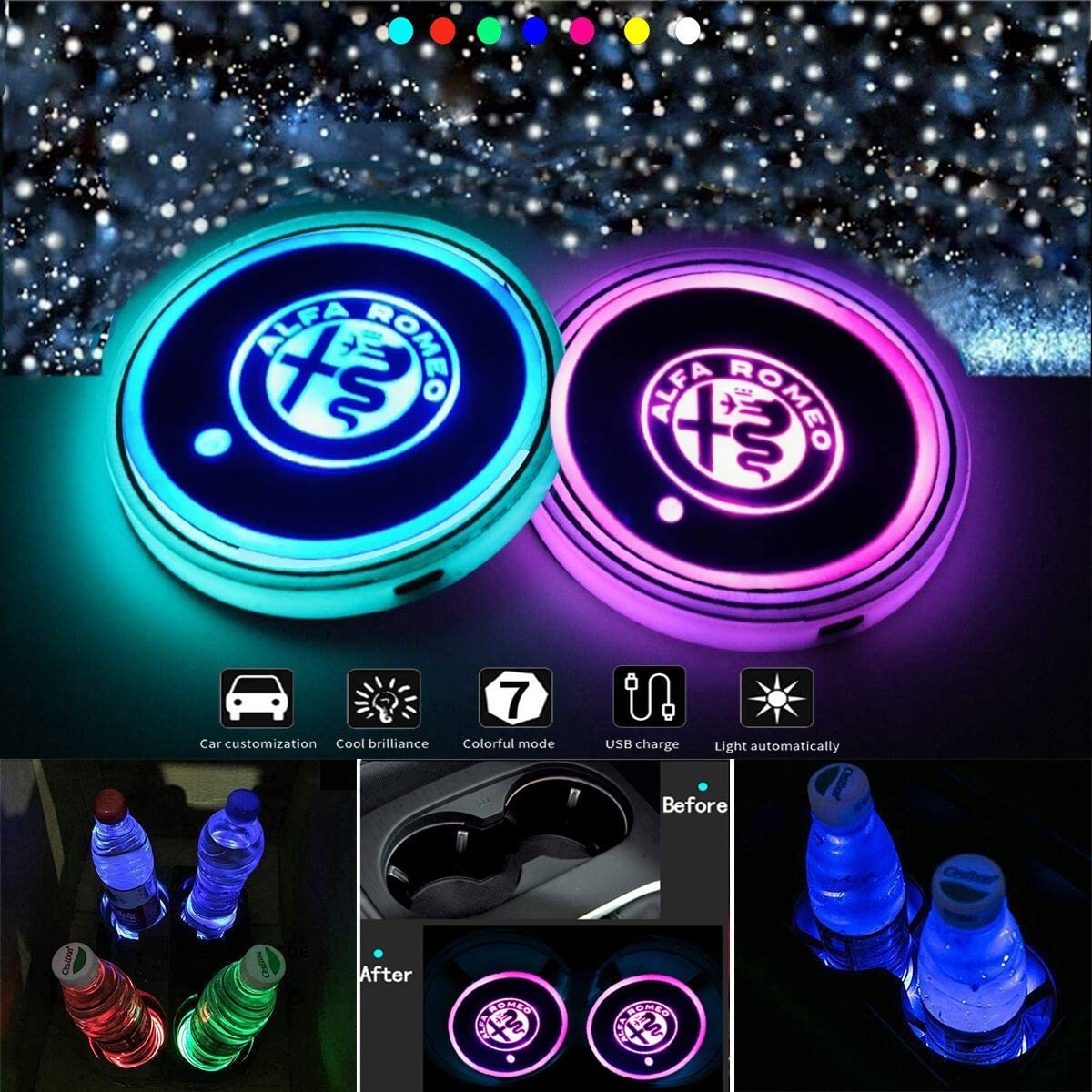 VILLSION 2PCS LED Cup Holder Car Coaster Wireless 7 Colors Light USB Charging Bottle Mat Pad Drink Holder for Alfa Romeo LED Interior Ornament Light