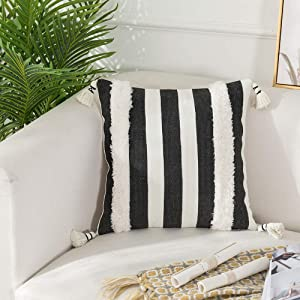 Collive Boho Striped Pillow Covers 18X18 Inch, Soft Woven Tufted Decorative Throw Pillows Cover with Tassels Farmhouse Accent Cushion Sham Case for Couch Sofa Bedroom Living Room, Black and White