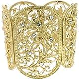 Filigree Stretch Bracelet Z39 Clear Crystal Wide Gold Tone