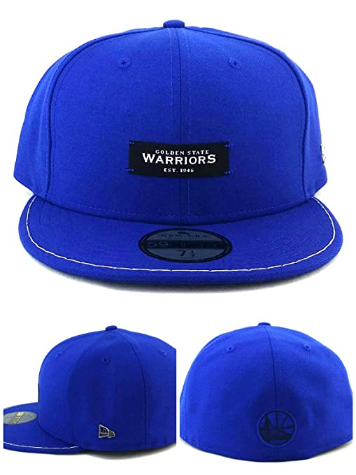 timeless design d679d 1954b Image Unavailable. Image not available for. Color  New Era Golden State  Warriors 59Fifty Black Label Luxe Blue White Fitted Hat 7 1