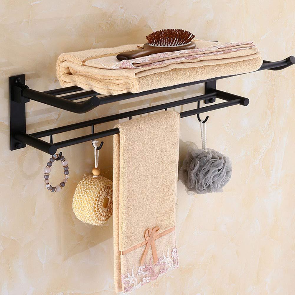 Adecuado para Dormitorio Ba/ño Hotel Sala Cocina,50cm Todo Cobre Plegable Fuerte Durable Cargar Los Negro Retirable Toallero Estante De La Vendimia