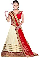 Fabmaza Cream Georgette Embroided Semi Stitched Lehenga Choli For Girl Party Wear Gown (Free Size_7 year, 8 year, 9 Year, 10 Year, 11 Year, 12 Year age_Fab109KDL)