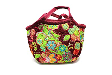 d64e555563d Hawaiian Print Quilted Padded Cotton Handel Zipper Bag Small Tote in Palm  Pineapple Red