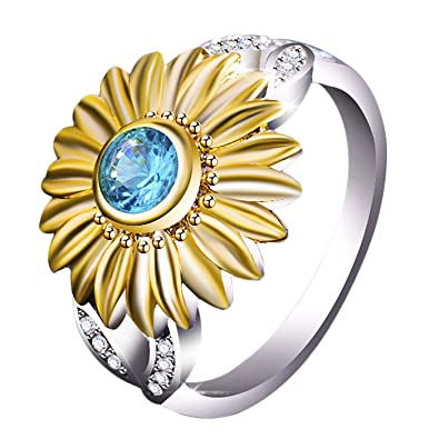 b60b4d7a71f3a Gotry Women's Sunflower Ring, Two Tone Silver Floral Round Color Zircon  Ring with Side Stone Copper Leaf Eternity Band