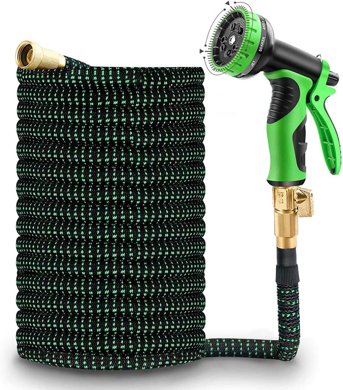 TRINIDa Expandable Garden Hose 50 ft Water Hose, 10 Patterns Leak Proof Nozzle, 3/4 Solid Brass Conn, Triple Layer Latex Inner Core Flexible Collapsible Durable Lightweight No Kink with 3750D Fabric