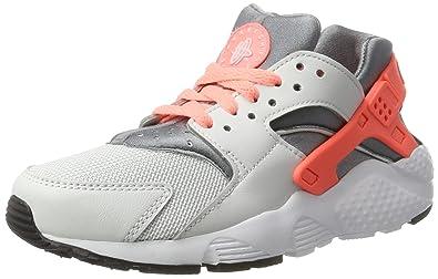 85634e97fb Nike Huarache Run GS, Baskets Basses garçon, Multicolore (Pure  Platinum/Lava Glow