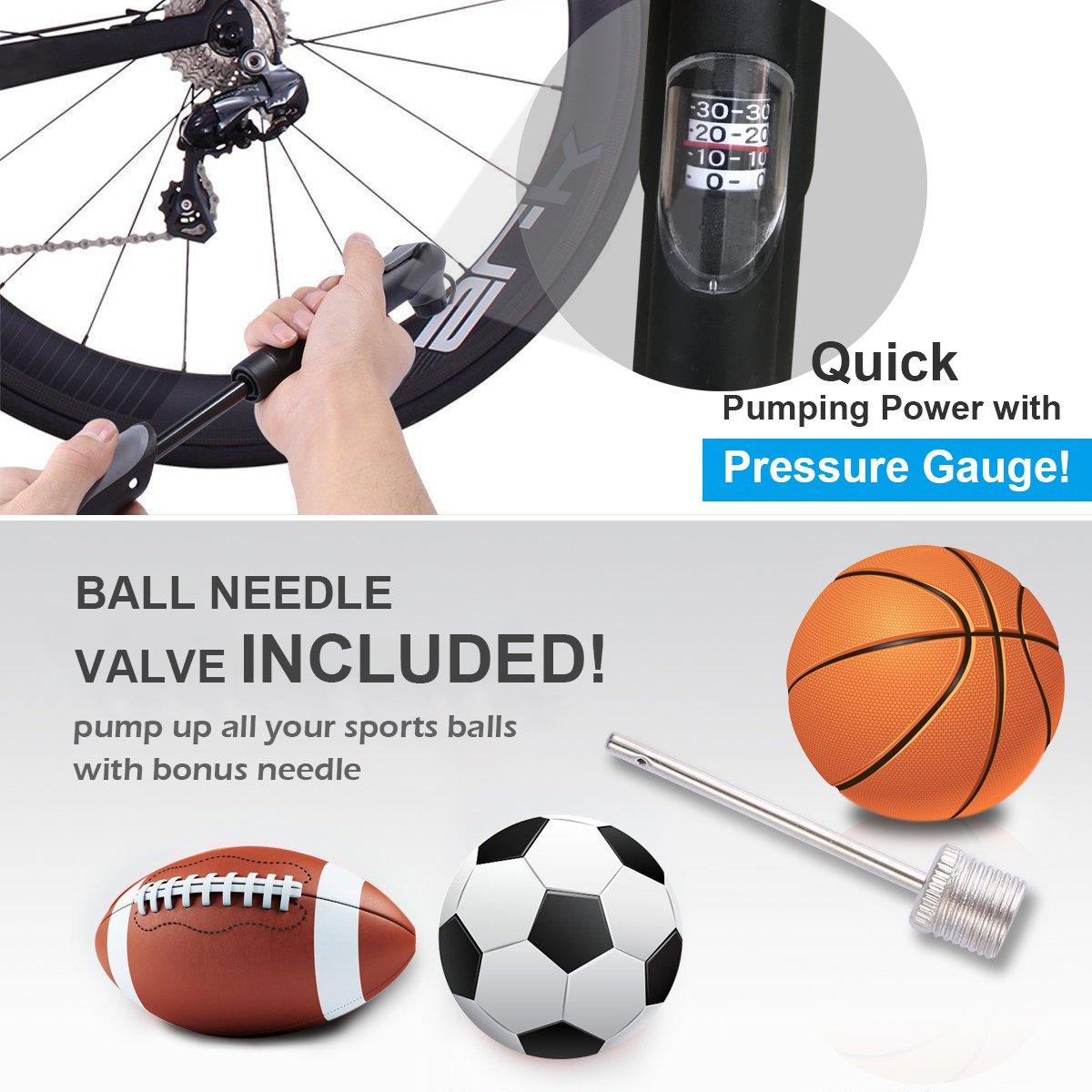 pompe /à billes Diyife Mini pompe /à v/élo colle sans colle et sac /à main portable Kit Freehand pour le football le volley-ball et les pneus de v/élo 120 PSI le basket-ball aiguille haute pression