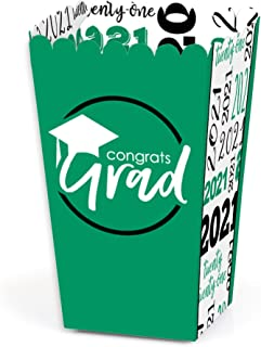 product image for Big Dot of Happiness Green Grad - Best is Yet to Come - Green 2021 Graduation Party Favor Popcorn Treat Boxes - Set of 12